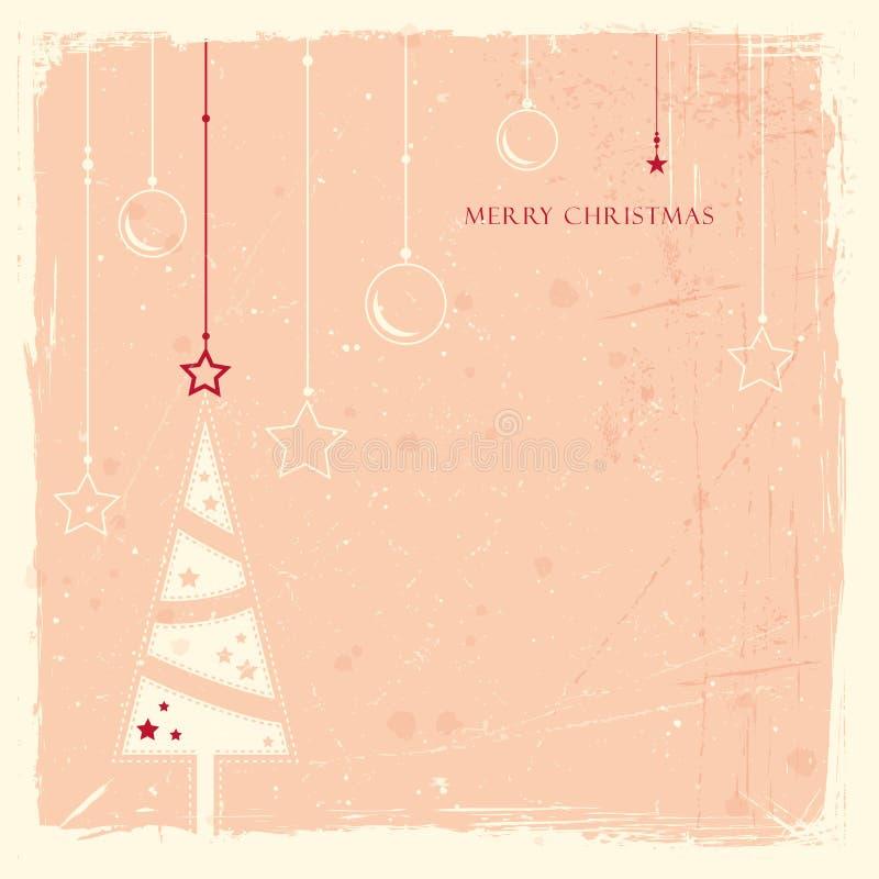 与圣诞树的Grunge背景 向量例证