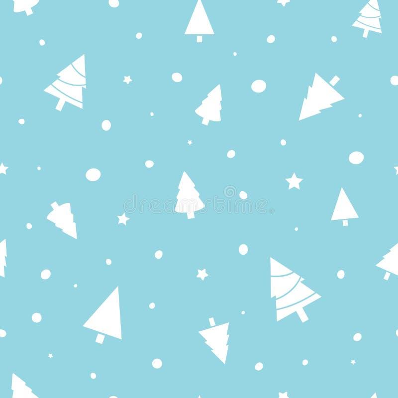 与圣诞树,星,在蓝色背景的雪的圣诞节无缝的样式 寒假设计 皇族释放例证