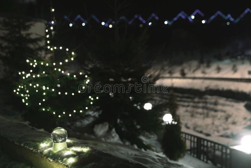 与圣诞灯和冷杉木的雪地球在背景 库存照片