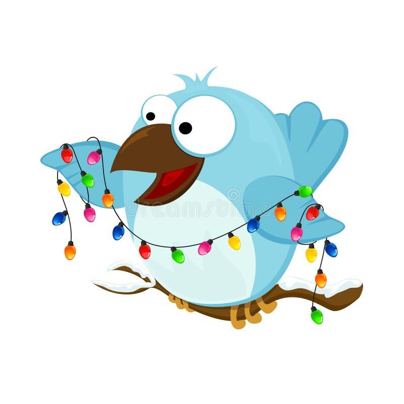 与圣诞灯的愉快的鸟 库存例证