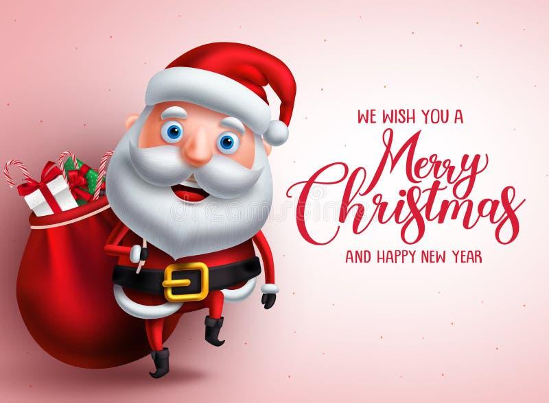 与圣诞老人传染媒介字符运载的礼物的圣诞快乐问候 库存例证