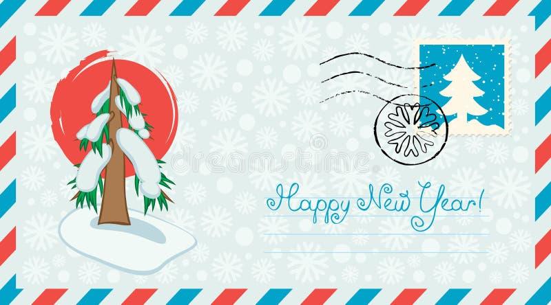 与圣诞老人和圣诞树的信封 库存例证