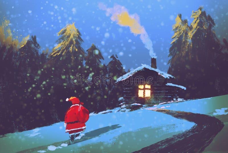 与圣诞老人和木房子的冬天风景在圣诞夜里 向量例证