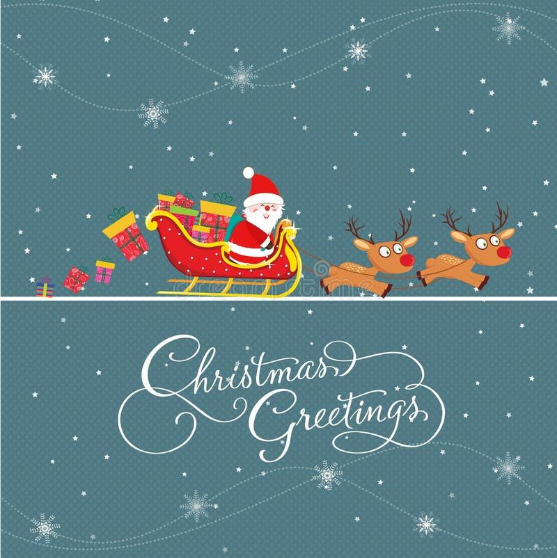 与圣诞老人和礼品的圣诞快乐看板卡 库存例证