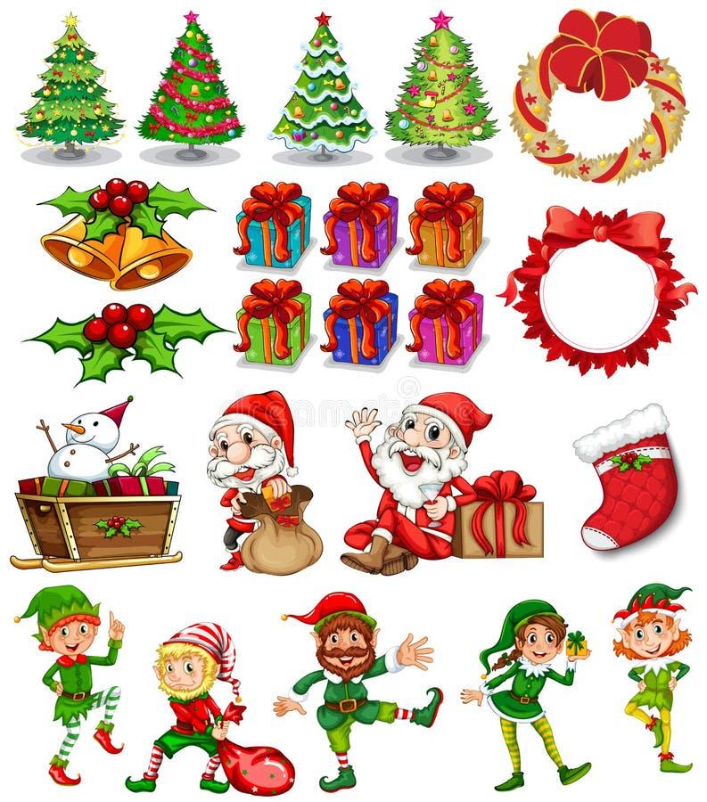 与圣诞老人和装饰品的圣诞节题材 皇族释放例证