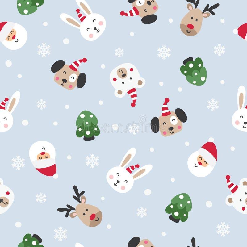 与圣诞老人和逗人喜爱的动物的冬天无缝的样式 皇族释放例证