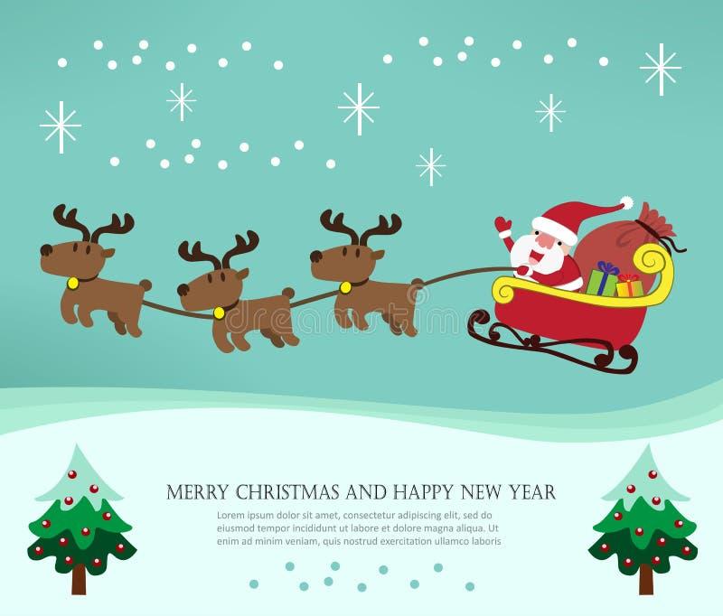与圣诞老人和他的驯鹿的圣诞卡 向量例证