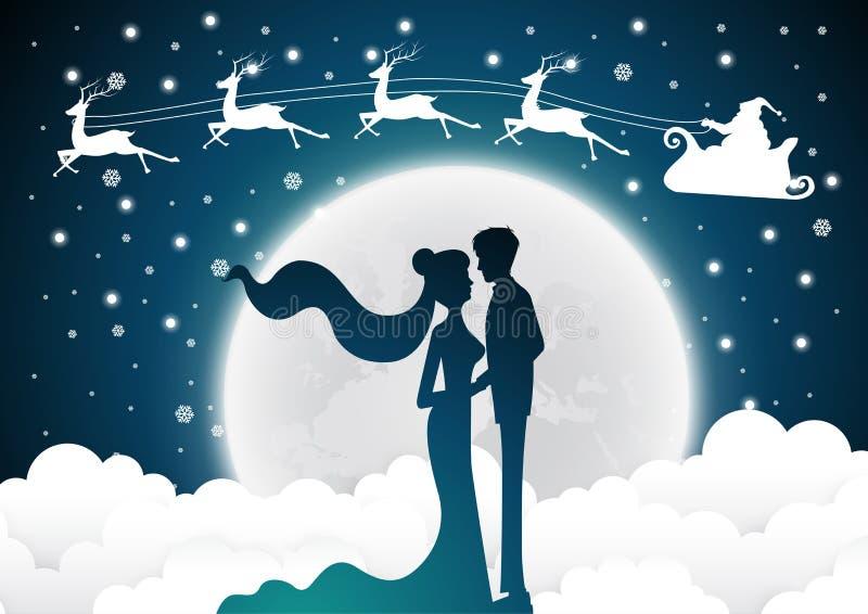 与圣诞老人婚礼邀请卡片的圣诞节与剪影新娘和新郎 满月背景 皇族释放例证