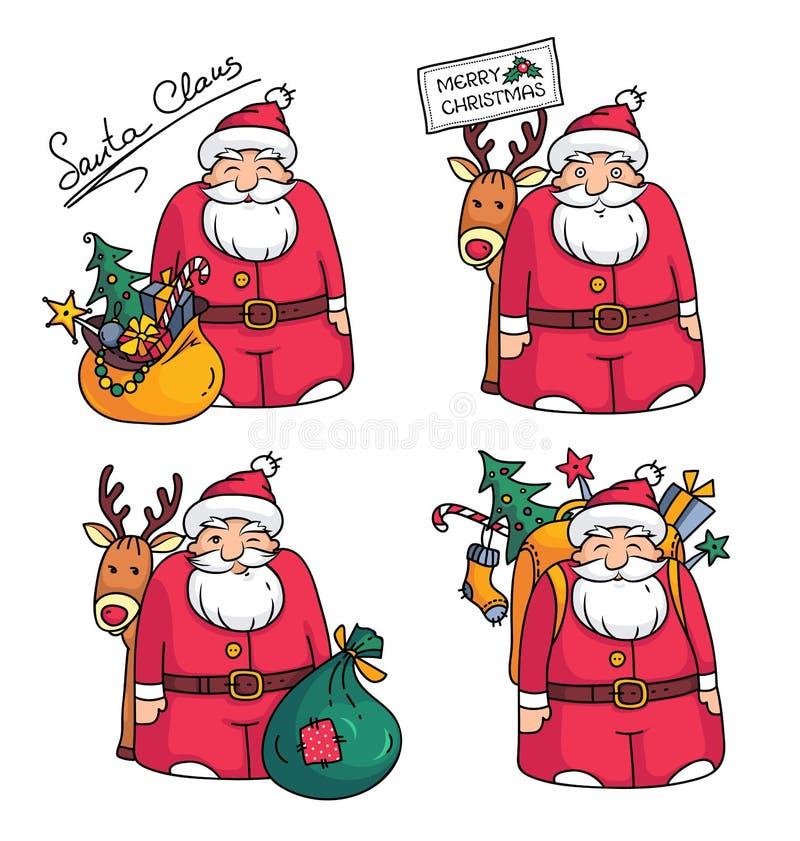 与圣诞老人字符、驯鹿、袋子、packbag、圣诞树、礼物和圣诞节装饰的假日例证 向量例证
