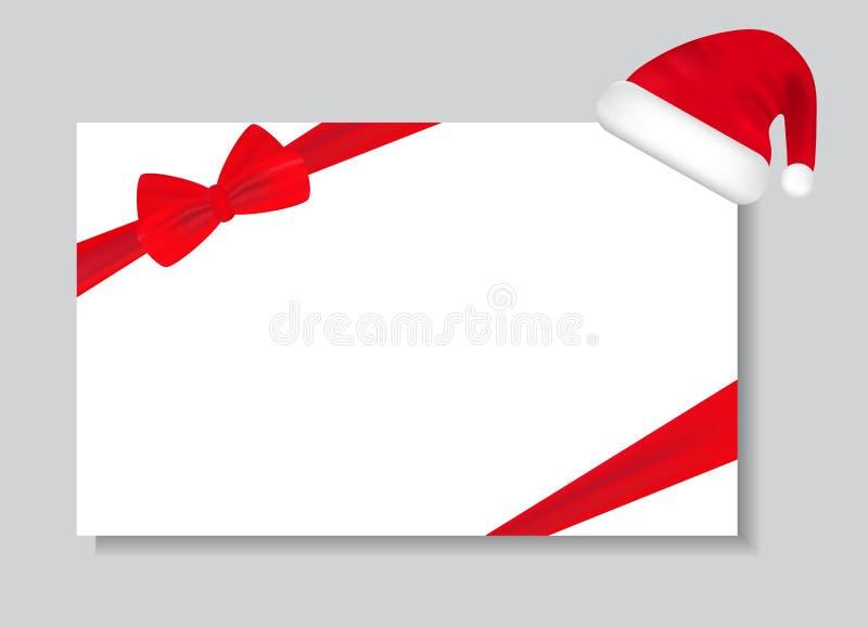 与圣诞老人帽子和弓丝带的纸板料 它可以为招呼使用,并且礼品券,在等上写字 向量 库存例证