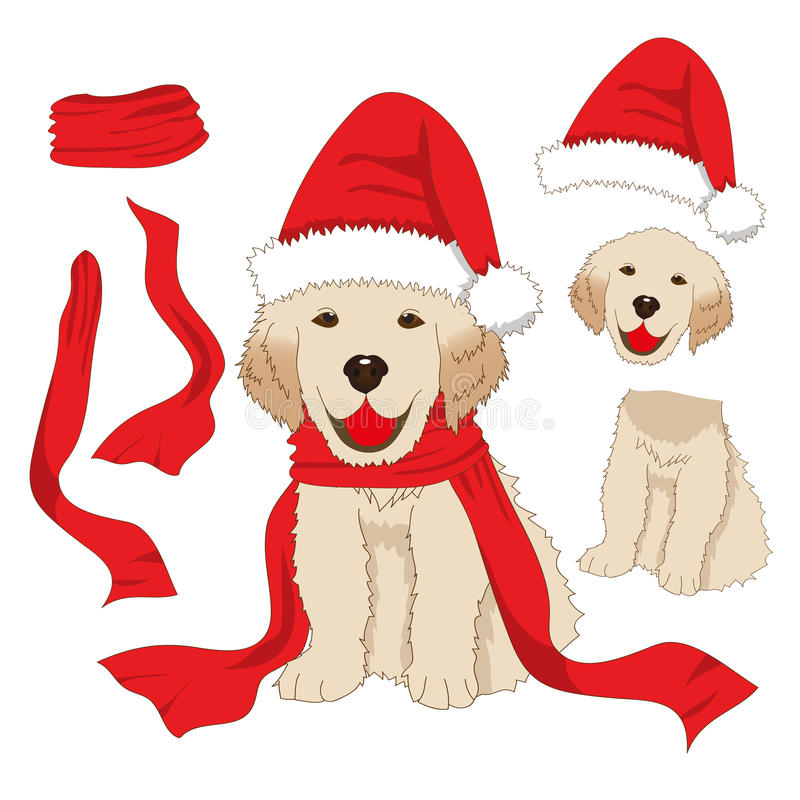 与圣诞老人帽子和围巾的小狗金毛猎犬 小狗拉布拉多贺卡在白色背景的圣诞节 向量例证