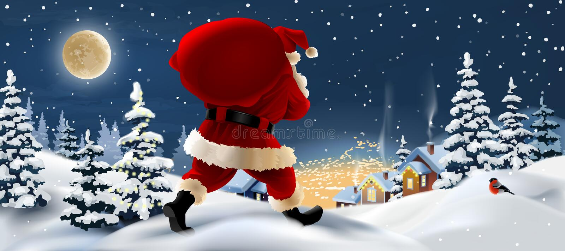 与圣诞老人的冬天风景前景的 皇族释放例证
