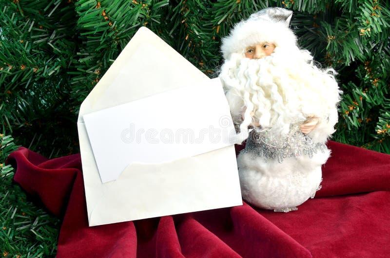 与圣诞老人的圣诞卡ânote 免版税库存照片