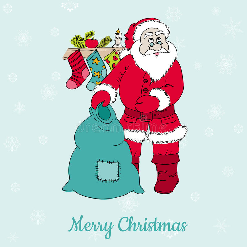 与圣诞老人的圣诞卡 向量例证