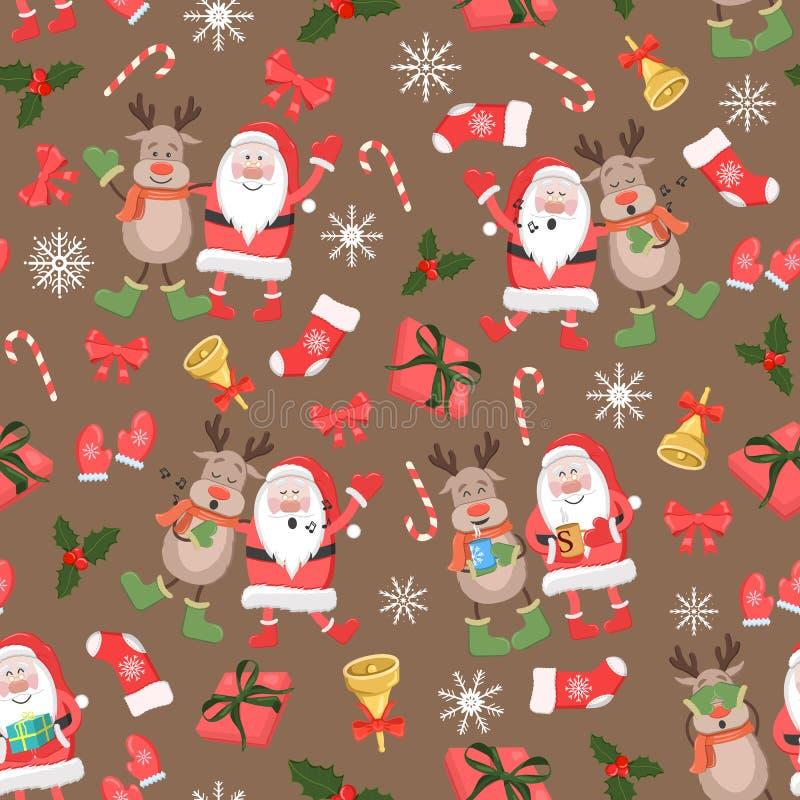 与圣诞老人的圣诞节无缝的样式,鹿和圣诞节充塞新年假日样式 向量例证