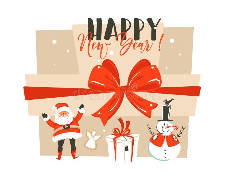 与圣诞老人的手拉的传染媒介摘要乐趣新年快乐时间动画片例证贺卡图片