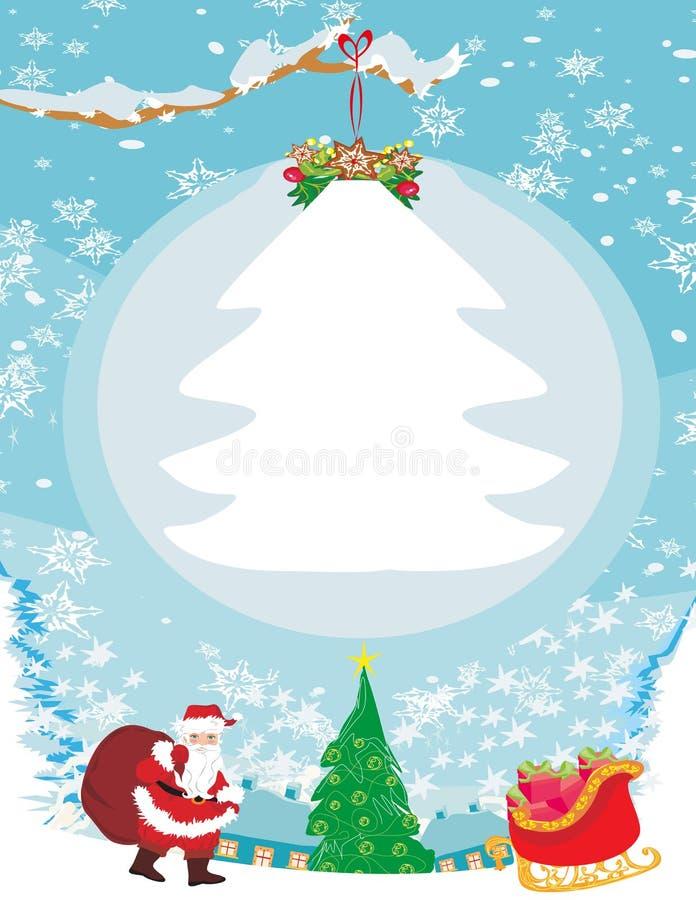 与圣诞老人的抽象圣诞卡 向量例证