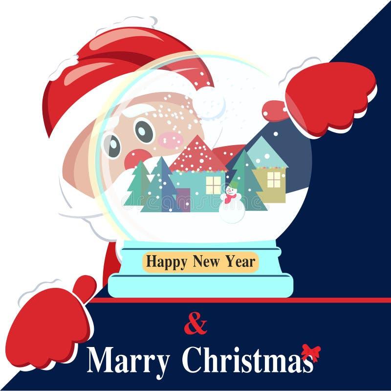 与圣诞老人的新年快乐背景 皇族释放例证