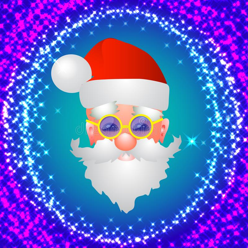 与圣诞老人的红色背景 圣诞节假日例证 在明亮的蓝色和红颜色的例证 库存例证