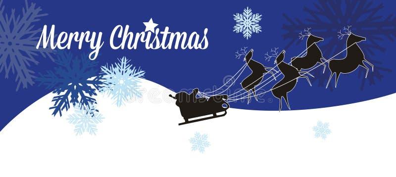 与圣诞老人雪撬的圣诞卡 免版税图库摄影