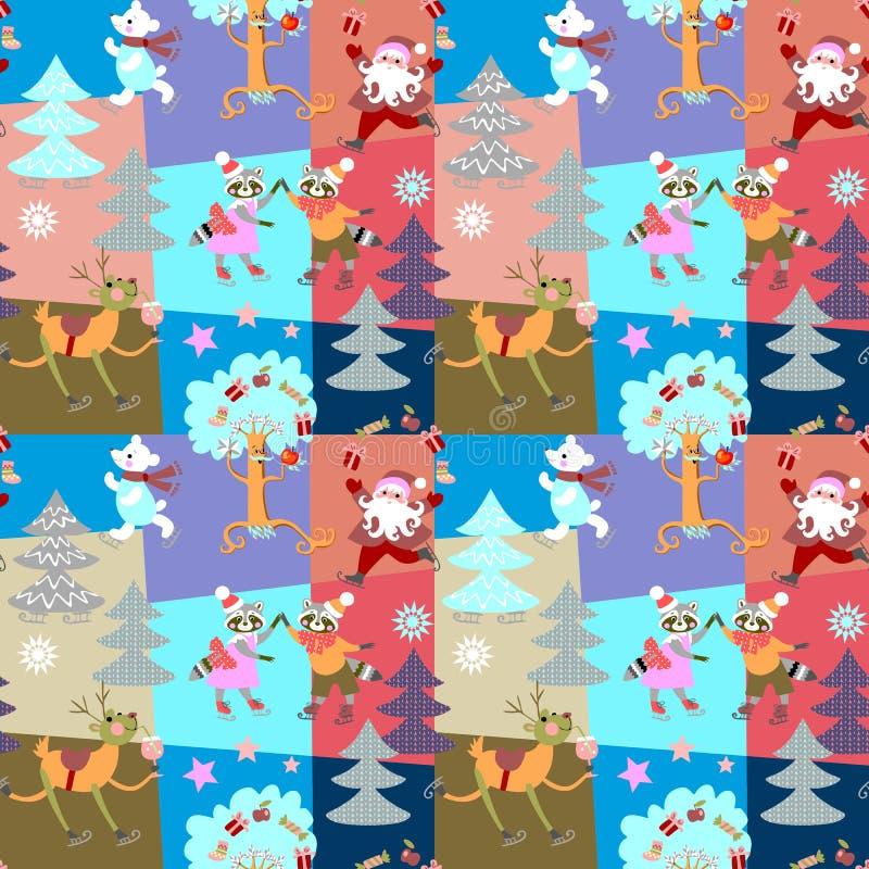 与圣诞老人项目、滑稽的鹿、北极熊和可爱的浣熊的无缝的圣诞节补缀品样式在冰鞋在冬天森林里 库存例证