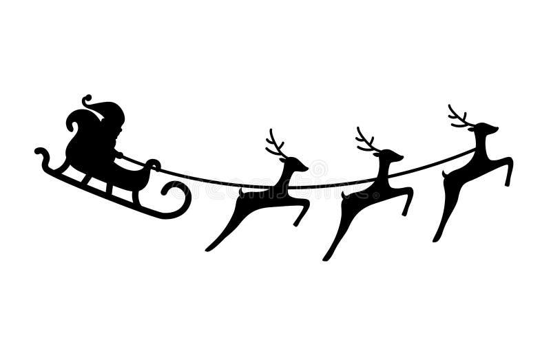 与圣诞老人项目的传染媒介例证在与三头驯鹿的雪橇 库存例证