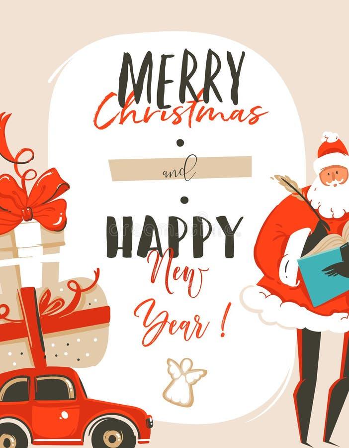 与圣诞老人,汽车,惊奇的手拉的传染媒介摘要乐趣圣诞快乐时间动画片例证贺卡标记 库存例证