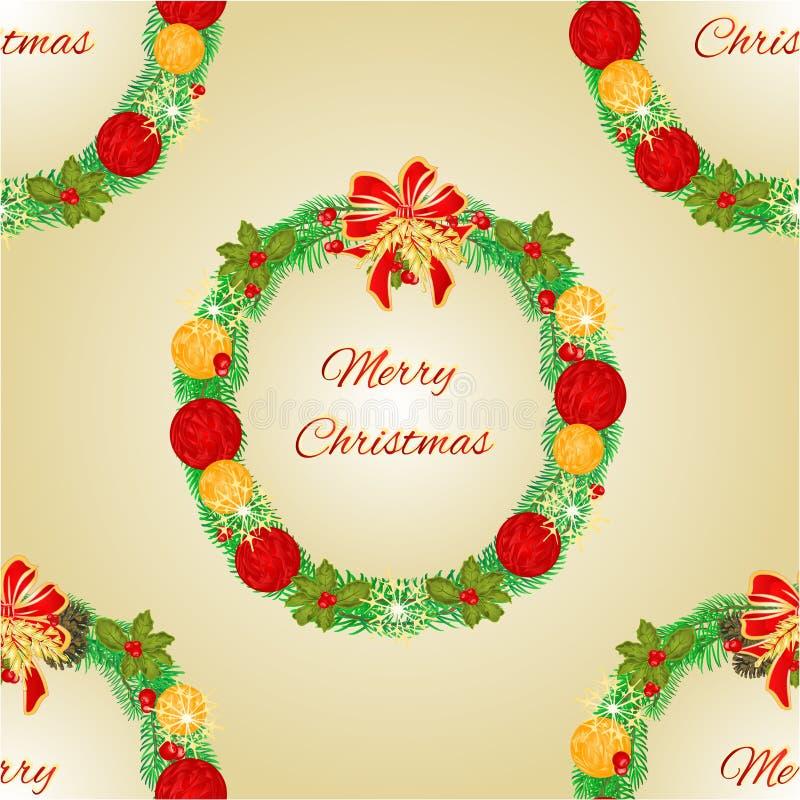 与圣诞节中看不中用的物品传染媒介的无缝的纹理圣诞快乐花圈 向量例证