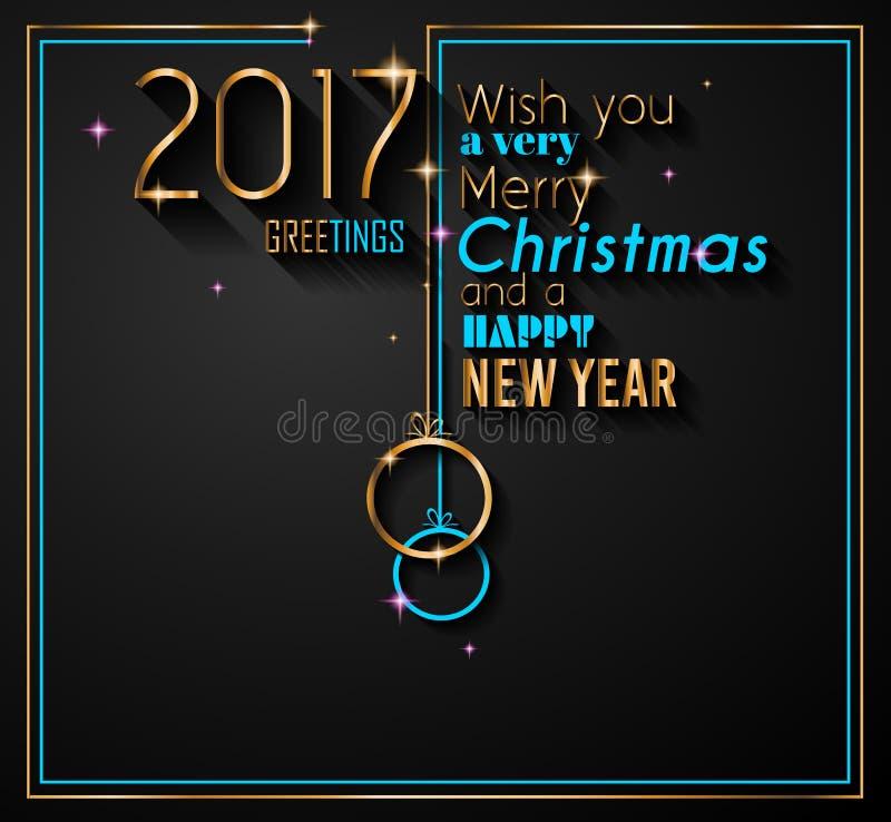 2017年与圣诞节中看不中用的物品的新年快乐季节性背景 皇族释放例证