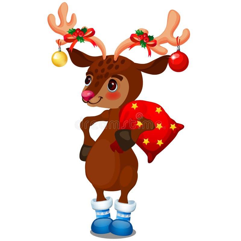 与圣诞节中看不中用的物品的逗人喜爱的驯鹿在拿着与礼物的垫铁一个袋子隔绝在白色背景 ??  向量例证