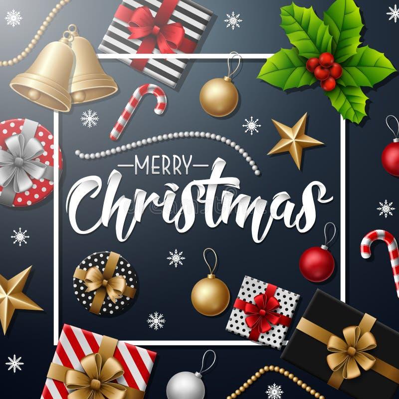 与圣诞节元素的圣诞快乐在蓝色背景 库存例证