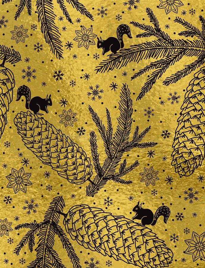 与圣诞节元素的金黄光滑的织地不很细背景, squir 向量例证