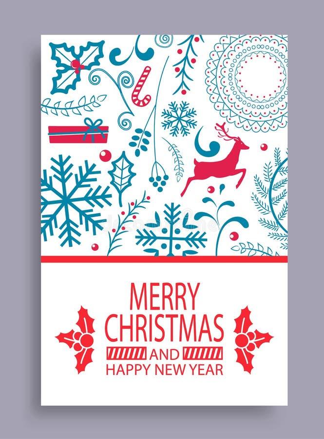 与圣诞节和新年快乐明亮的明信片结婚 库存例证