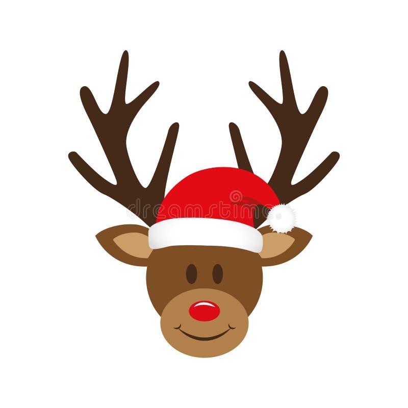 与圣诞节圣诞老人帽子的逗人喜爱的驯鹿 向量例证