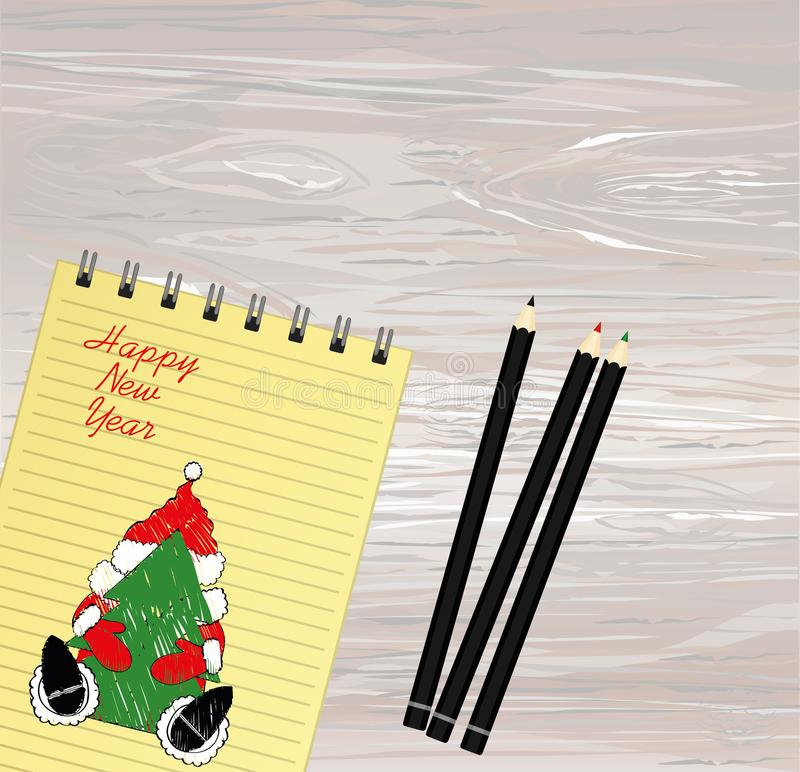 与圣诞节圣诞老人的笔记本模板和球和铅笔 在白色背景的传染媒介 贺卡在度假 A 向量例证