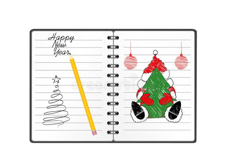 与圣诞节圣诞老人的笔记本模板和球和铅笔 在白色背景的传染媒介 贺卡在度假 A 皇族释放例证