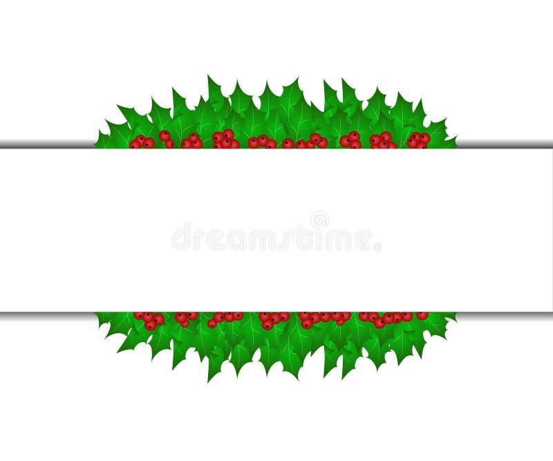 与圣诞节圣洁叶子的横幅 免版税图库摄影