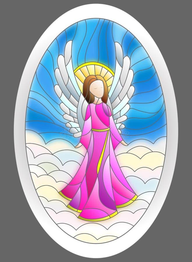 与圣诞节天使的彩色玻璃例证以长圆形的形式 库存例证
