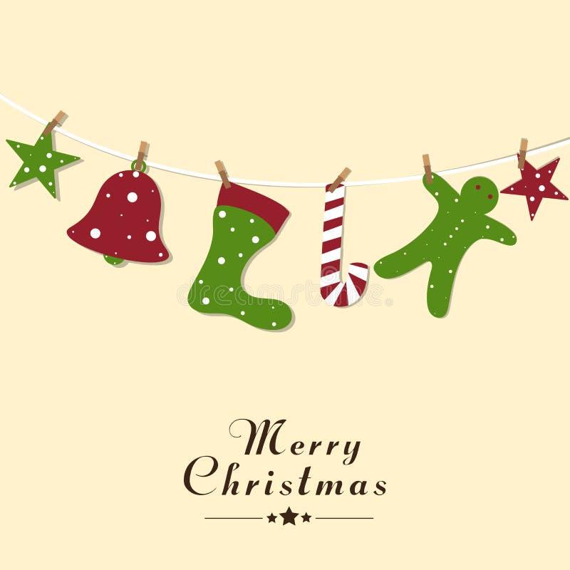 与圣诞节对象的圣诞快乐庆祝 向量例证