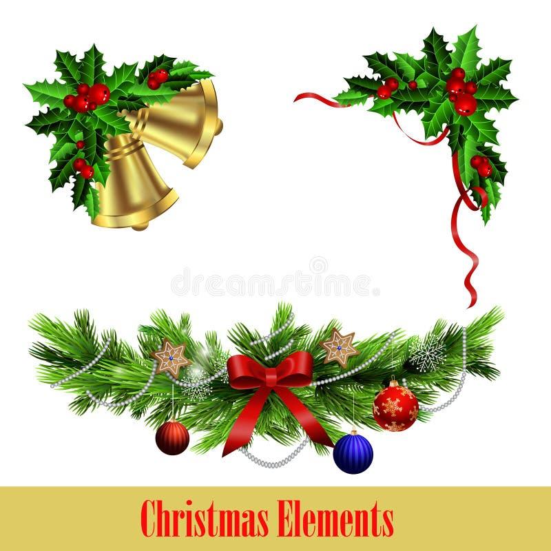与圣诞节常青树集合的装饰元素 皇族释放例证