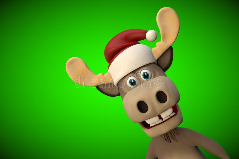 与圣诞节帽子动画片动物动物园森林的逗人喜爱的麋 向量例证