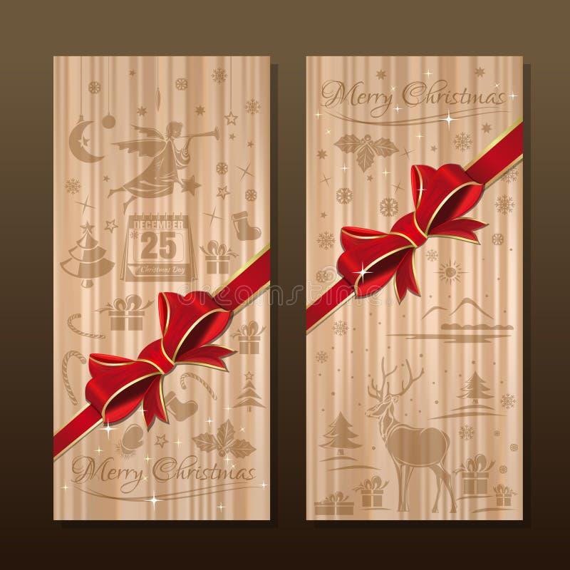 与圣诞节标志的样式的丝织物 快活的圣诞节 库存例证