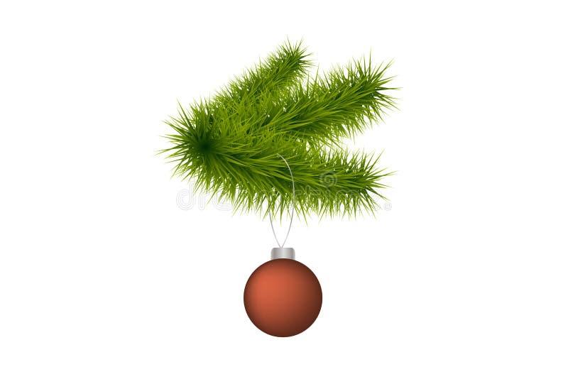 与圣诞节玻璃球的装饰元素现实冷杉分支设计的假日海报,横幅,商标,象,邀请 库存例证