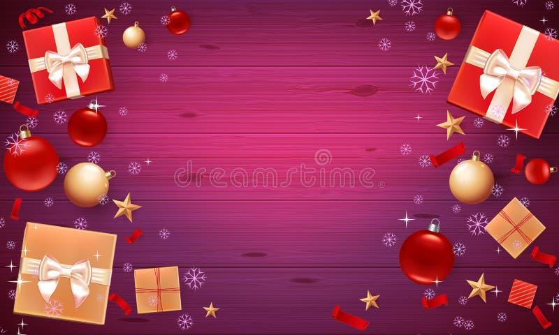 与圣诞节球、星、礼物盒、五彩纸屑和地方的促进海报文本的 圣诞卡片的模板,飞行物,海报 皇族释放例证