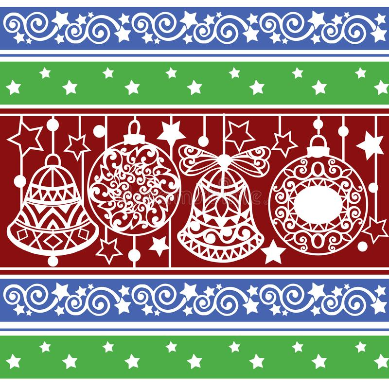 与圣诞节球和响铃的五颜六色的条纹图形 墙纸、网页背景、包装纸和等的Xmas纹理 皇族释放例证