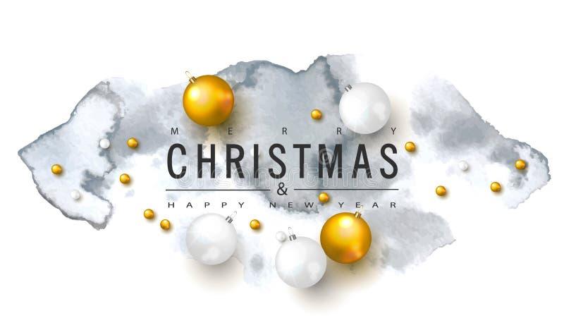 与圣诞节球和水彩纹理的2019圣诞快乐和新年快乐背景 假日gre的传染媒介例证 库存例证