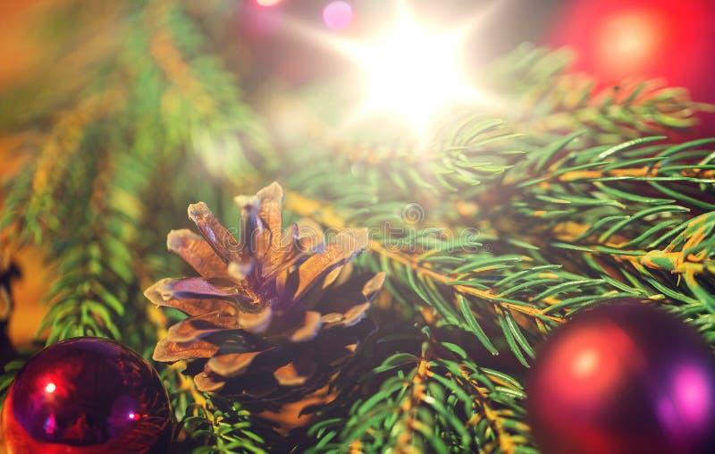 与圣诞节球和pinecones的冷杉分支 库存照片