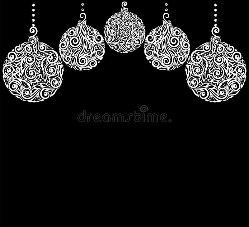 与圣诞节球垂悬的美好的单色黑白圣诞节背景 皇族释放例证