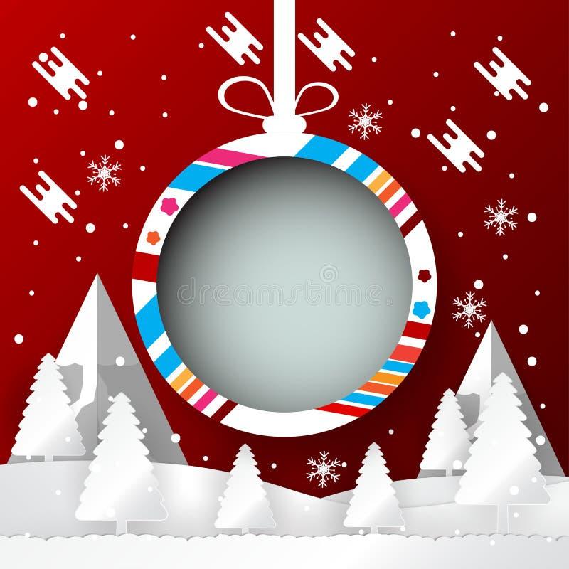 与圣诞节球横幅设计,纸的冬天季节雕刻并且制作样式 传染媒介例证摘要传染媒介例证 向量例证