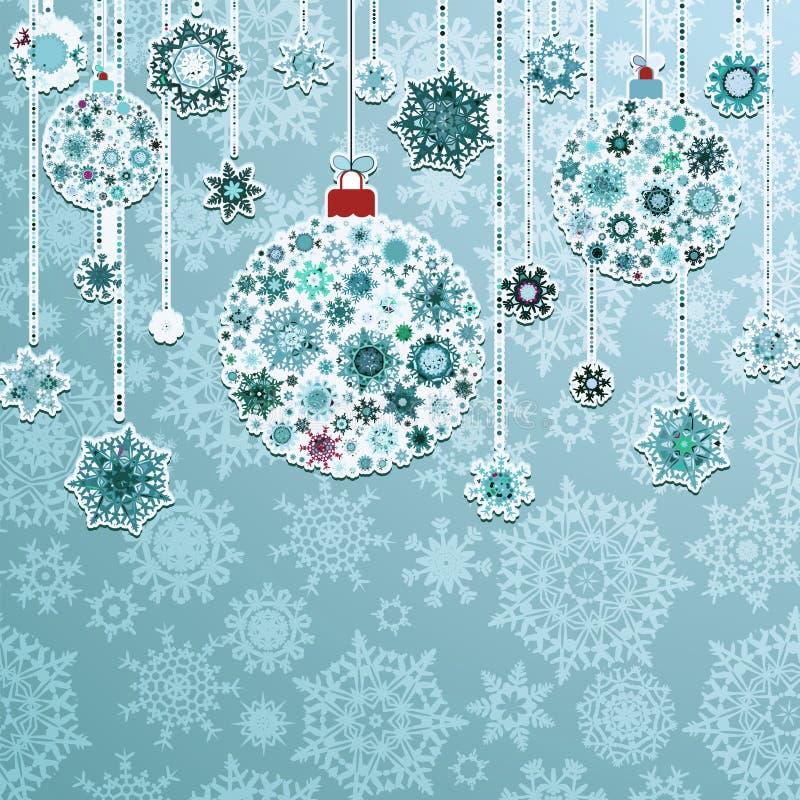 与圣诞节球的蓝色背景。EPS 8 向量例证